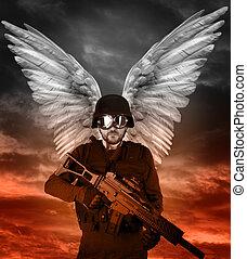 escuro, anjo, grande, asas, apocalipsis