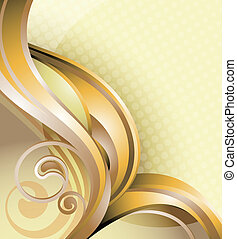 Abstract Gold Scroll - Illustration of abstract curve...