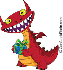 laughing dragon and gift - illustration of a laughing dragon...