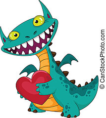 laughing dragon and heart - illustration of a laughing...