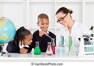 science teacher and students in lab