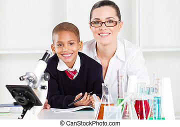 elementary teacher and student
