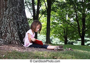 criança, leitura, Um, livro