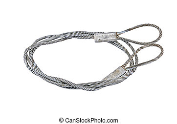 Interlocked wire loop rope, isolated on white background