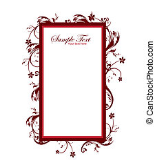 vintage frame - red vintage frame isolated over white...