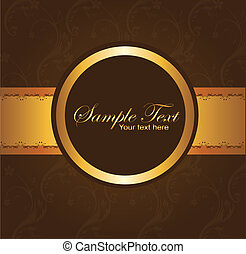 brown background - brown and gold blank circle with...