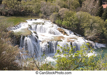 KRKA National Park - Waterfall in National Park Krka in...