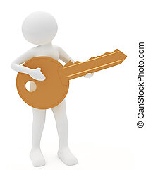 person playing key as a guitar - 3d render: person playing...