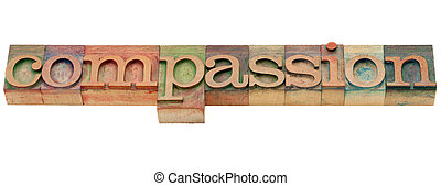 compassion word - compassion - isolated word in vintage wood...