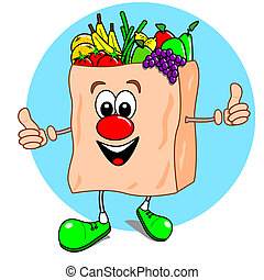 Cartoon bag of fruit & veg - Cartoon illustration of a...