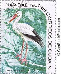 White Stork - CUBA - CIRCA 1967: A stamp printed in Vietnam...