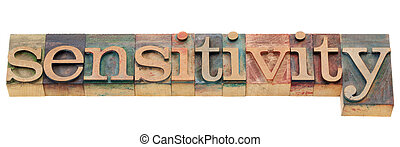 sensitivity word - sensitivity - isolated word in vintage...