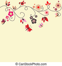 Border - Vector red floral greeting card