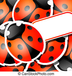 Lady bugs - Vector picture with ladybug stickers