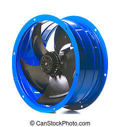 Industrial fan Closeup Isolated on white