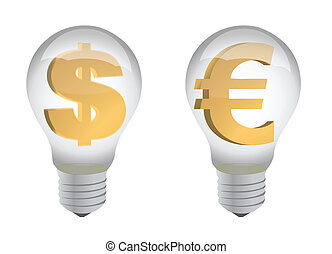 euro and dollar sign in lightbulb illustration design