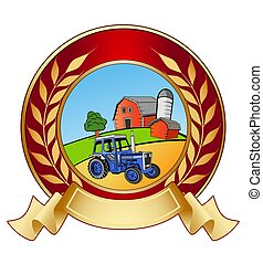 Farm banner icon - An illustration of shiny farm banner icon...