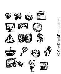 icons - computer hand drawn icons isolated on the white...