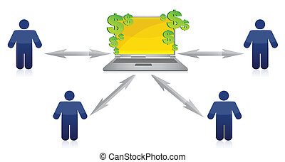 Wealth Distribution and online earnings illustration design