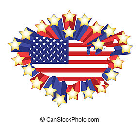 US flag map and 3d stars