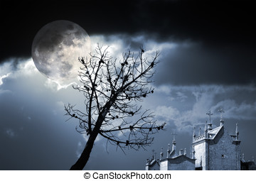 Fear night - Photo composition with full moon at night,...