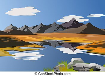 Scenic landscape - An illustration of scenic landscape with...