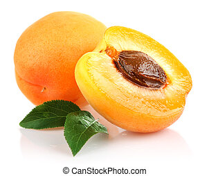 apricot fruits with green leaf and cut isolated on white...