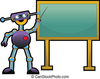 Robot Pointing To Chalkboard - Happy strange cute odd robot...