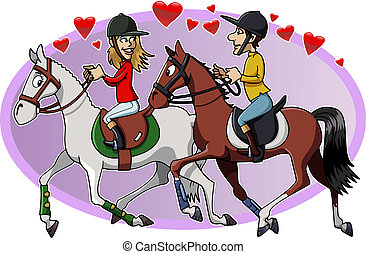 Riders in love - Cartoon-style illustration: two young...