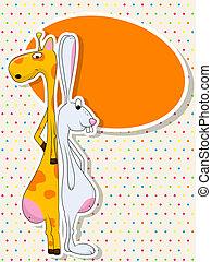 Giraffe and rabbit
