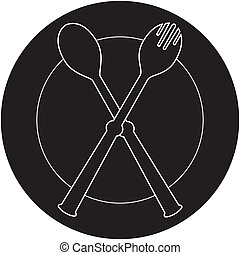 plateful, fork and spoon silhouett - plateful, fork and...