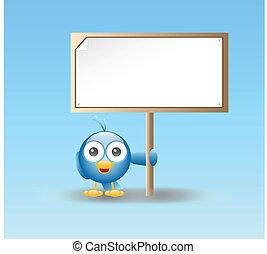 Blue bird holding sign - vector illustration of a Blue bird...