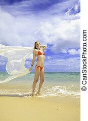 redhead woman in red bikini and chiffon - beautiful redhead...