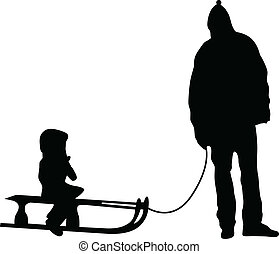 sledding silhouette vector