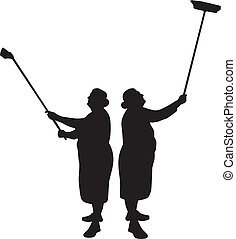 cleaner silhouette vector - grandmother as a cleaner...