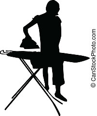 woman ironing silhouette vector