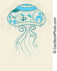 Jellyfish - Vector picture with bizarre jellyfish