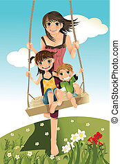 Brother and sisters - A vector illustration of three...