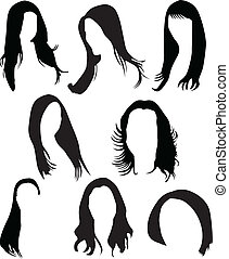 women hair silhouette vector