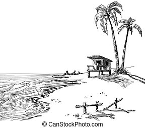 Summer beach sketch with palm trees and lifeguard stand