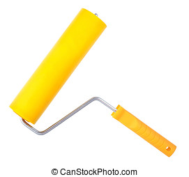 Yellow paint roller, isolated on white background Without...