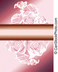 Pink vintage banner with roses