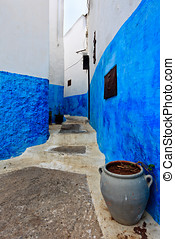 Blue and White Alley in Morocco - Rabat, Morocco:...
