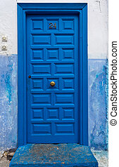 Colorful Bright Blue Wooden Door - Rabat, Morocco: Colorful...