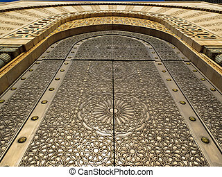 Ornate carved pattern - mosque door - Casablanca, Morocco:...