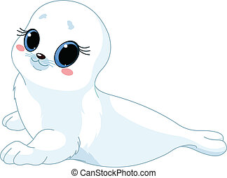 Baby seal - illustration of cute baby seal
