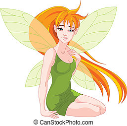 Young fairy - Illustration of a sitting young fairy