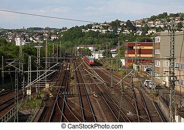 kolej żelazna, miasto, Siegen, Północ,...