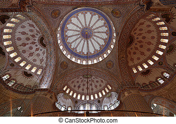 Interior of Sultan Ahmed Mosque (Blue Mosque) in Istanbul, Turkey