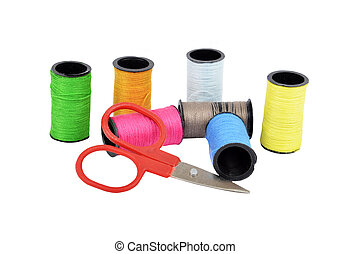 Sewing kit, isolated on a white background